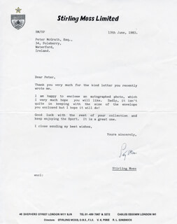 SIR STIRLING C. MOSS - TYPED LETTER SIGNED 06/13/1983