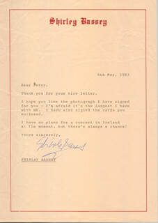 SHIRLEY BASSEY - TYPED LETTER SIGNED 05/06/1983