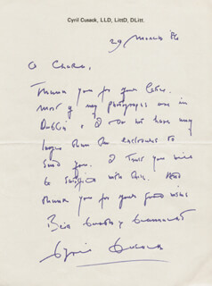 CYRIL CUSACK - AUTOGRAPH LETTER SIGNED 03/29/1986