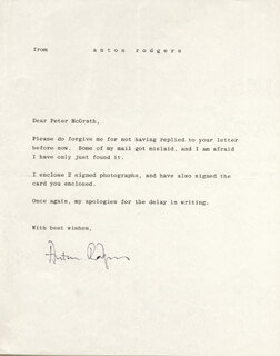 ANTON RODGERS - TYPED LETTER SIGNED