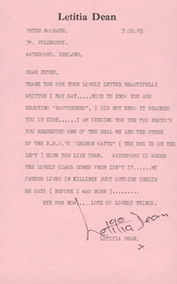 LETITIA DEAN - TYPED LETTER SIGNED 10/07/1985