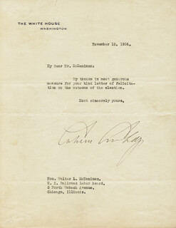 PRESIDENT CALVIN COOLIDGE - TYPED LETTER SIGNED 11/15/1924