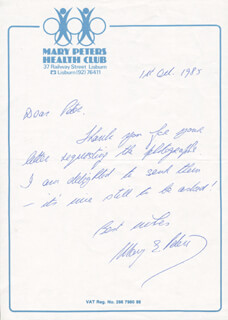 DAME MARY E. PETERS - AUTOGRAPH LETTER SIGNED 10/01/1985