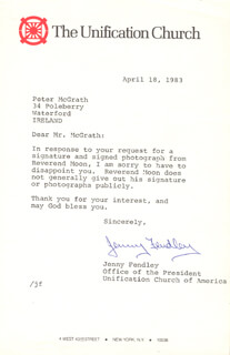 JENNY FENDLEY - TYPED LETTER SIGNED 04/18/1983