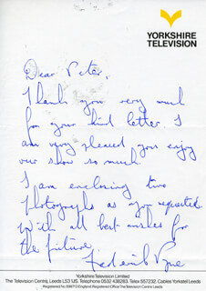 FREDERICK PYNE - AUTOGRAPH LETTER SIGNED