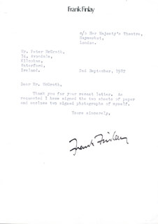 FRANK FINLAY - TYPED LETTER SIGNED 09/02/1982