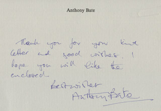 ANTHONY BATE - AUTOGRAPH NOTE SIGNED