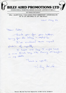 BILLY AIRD - AUTOGRAPH LETTER SIGNED 05/22/1986