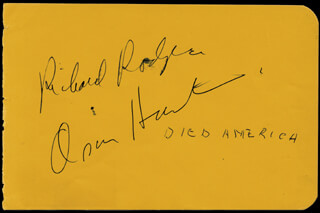Autographs: RICHARD RODGERS - SIGNATURE(S) CO-SIGNED BY: LLOYD BRIDGES, OSCAR HAMMERSTEIN II