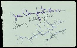NAT KING COLE - AUTOGRAPH CO-SIGNED BY: JOE COMFORT, IRVING C. ASHBY, JACK COSTANZO