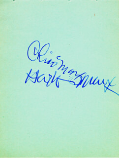 CHICO (LEONARD) MARX - AUTOGRAPH CO-SIGNED BY: HARPO (ADOLPH) MARX