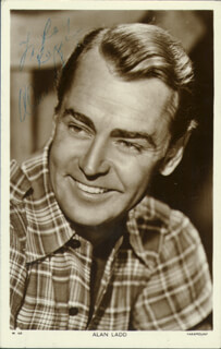 ALAN LADD - INSCRIBED PICTURE POSTCARD SIGNED
