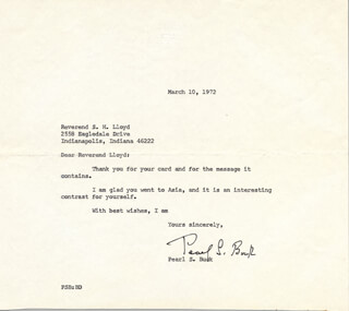 Autographs: PEARL S. BUCK - TYPED LETTER SIGNED 03/10/1972