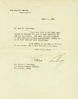 Autographs: PRESIDENT CALVIN COOLIDGE - TYPED LETTER SIGNED 03/01/1929