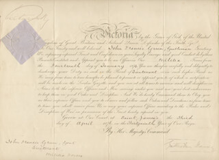 QUEEN VICTORIA (GREAT BRITAIN) - MILITARY APPOINTMENT SIGNED 04/03/1876 CO-SIGNED BY: GATHORNE (EARL OF CRANBROOK I) HARDY