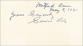 SIMON LAKE - AUTOGRAPH SENTIMENT SIGNED 05/09/1931
