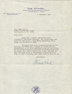 GENERAL MARK W. CLARK - TYPED LETTER SIGNED 12/13/1967