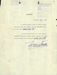 TYRONE POWER - DOCUMENT SIGNED 11/04/1942