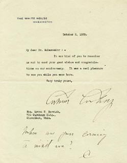 Autographs: PRESIDENT CALVIN COOLIDGE - TYPED LETTER SIGNED 10/08/1925