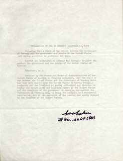 Autographs: GENERAL IRA C. EAKER - TYPESCRIPT SIGNED