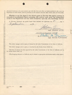 ANTHONY QUINN - CONTRACT SIGNED 09/21/1950 CO-SIGNED BY: MILTON M. GROSSMAN