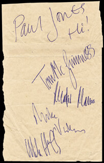 MANFRED MANN - AUTOGRAPH CO-SIGNED BY: MANFRED MANN (PAUL JONES), MANFRED MANN (MICHAEL MIKE VICKERS), MANFRED MANN (MIKE HUGG), MANFRED MANN (MANFRED MANN), MANFRED MANN (TOM MCGUINESS)