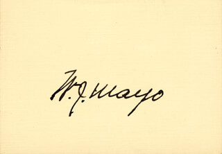 WILLIAM J. MAYO - AUTOGRAPH