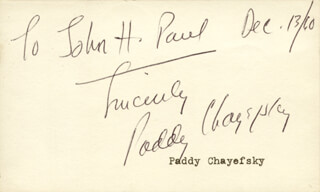 PADDY CHAYEFSKY - AUTOGRAPH NOTE SIGNED 12/13/1960