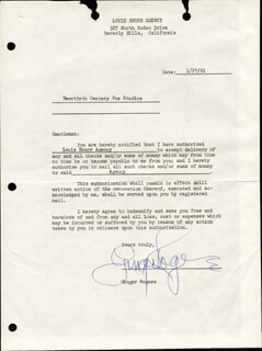 GINGER ROGERS - DOCUMENT SIGNED 01/27/1961