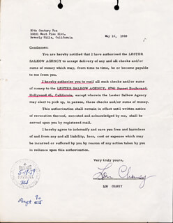 LON CHANEY JR. - DOCUMENT SIGNED 05/15/1959