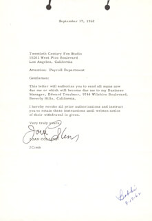 JOAN COLLINS - TYPED LETTER SIGNED
