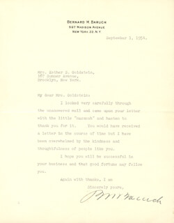 Autographs: BERNARD M. BARUCH - TYPED LETTER SIGNED 09/01/1954