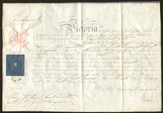 Autographs: QUEEN VICTORIA (GREAT BRITAIN) - MILITARY APPOINTMENT SIGNED 02/07/1838 CO-SIGNED BY: PRIME MINISTER JOHN RUSSELL (GREAT BRITAIN)