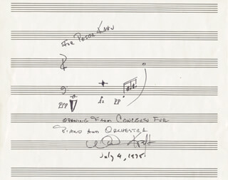 WILLIAM KRAFT - AUTOGRAPH MUSICAL QUOTATION SIGNED 07/04/1975