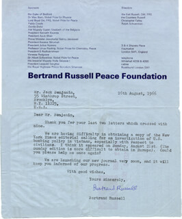 BERTRAND RUSSELL - TYPED LETTER SIGNED 08/26/1966