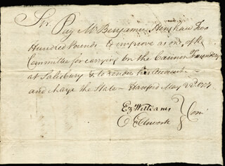 Autographs: CHIEF JUSTICE OLIVER ELLSWORTH - AUTOGRAPH DOCUMENT SIGNED 05/22/1777 CO-SIGNED BY: EZEKIEL WILLIAMS