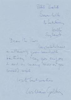 Autographs: SIR WILLIAM GOLDING - AUTOGRAPH LETTER SIGNED
