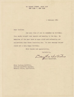 GENERAL DOUGLAS MACARTHUR - TYPED LETTER SIGNED 02/01/1961