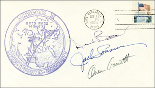 Autographs: CAPTAIN ALAN L. BEAN - COMMEMORATIVE ENVELOPE SIGNED CO-SIGNED BY: COLONEL JACK LOUSMA, OWEN K. GARRIOTT