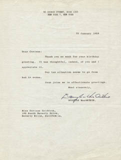 GENERAL DOUGLAS MACARTHUR - TYPED LETTER SIGNED 01/30/1959
