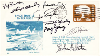 FRED W. HAISE JR. - COMMEMORATIVE ENVELOPE SIGNED CO-SIGNED BY: THOMAS C. McMURTRY, LT. COLONEL FITZ (FITZHUGH) FULTON JR., SKIP GUIDRY, COLONEL RAY (WILLIAM RAY) YOUNG, MAJOR GENERAL JOE ENGLE, VICE ADMIRAL RICHARD H. TRULY, COLONEL C. GORDON FULLERTON