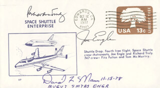 MAJOR GENERAL JOE ENGLE - ANNOTATED COMMEMORATIVE ENVELOPE SIGNED CO-SIGNED BY: DAVID F. MANN, VICE ADMIRAL RICHARD H. TRULY