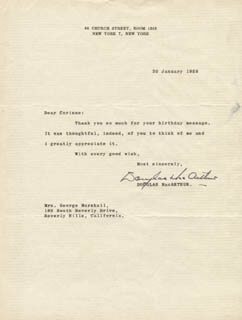 GENERAL DOUGLAS MACARTHUR - TYPED LETTER SIGNED 01/30/1958
