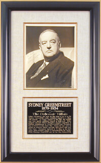 SYDNEY GREENSTREET - AUTOGRAPHED INSCRIBED PHOTOGRAPH