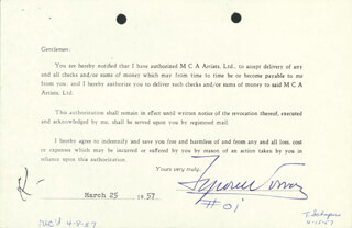 TYRONE POWER - DOCUMENT SIGNED 03/25/1957