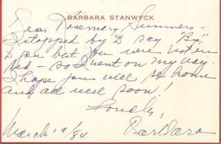BARBARA STANWYCK - AUTOGRAPH LETTER SIGNED 03/19/1984