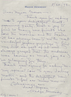 MADGE KENNEDY - AUTOGRAPH LETTER DOUBLE SIGNED 05/20/1973