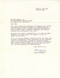 MICKEY HARGITAY - TYPED LETTER SIGNED 06/06/1964