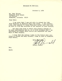 ROBERT DUVALL - TYPED LETTER SIGNED 10/09/1984