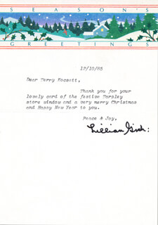 LILLIAN GISH - TYPED LETTER SIGNED 12/10/1985